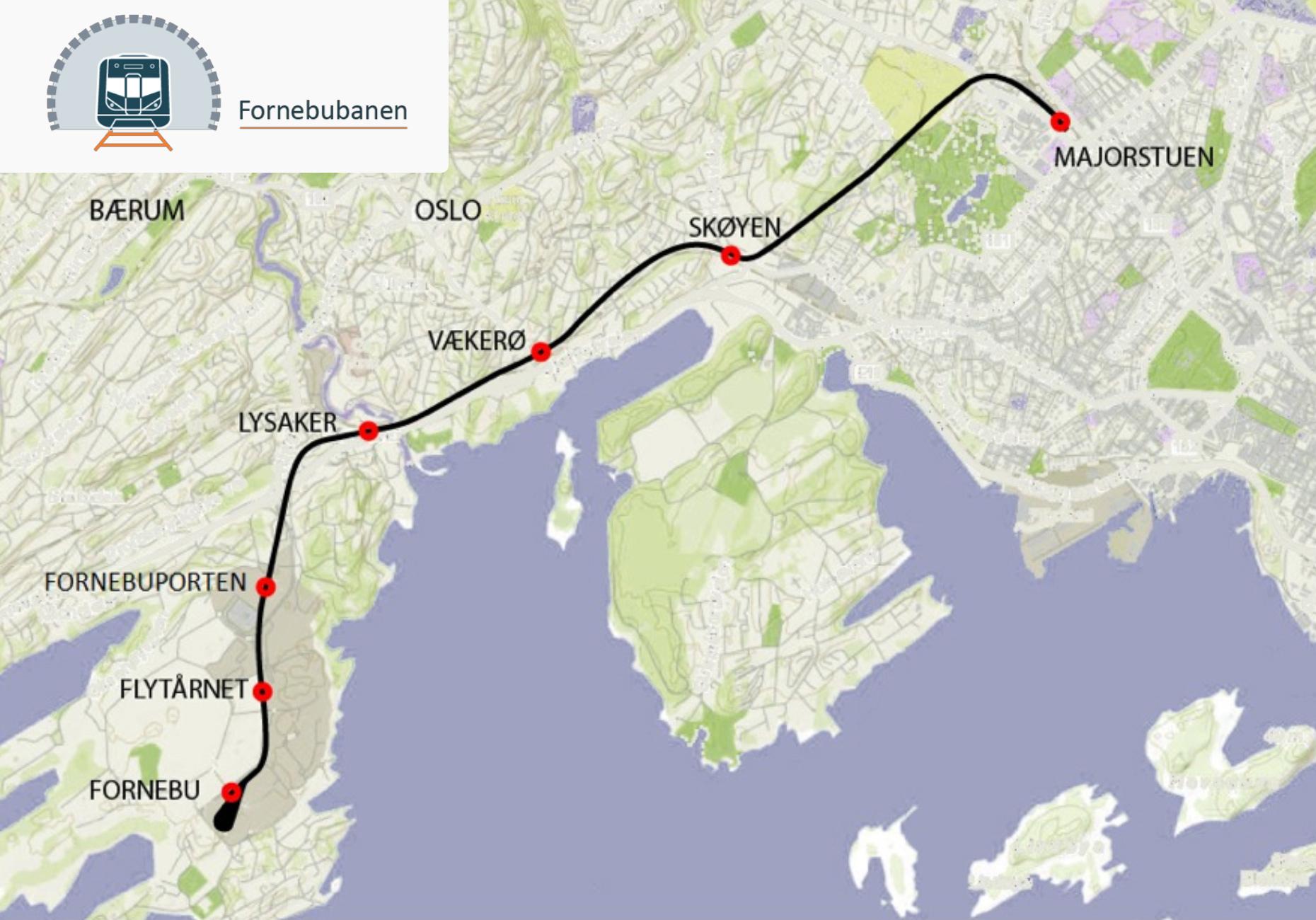 Fornebu Line map
